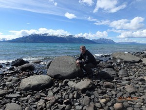 Bryan Brown beside Atlin Lake, British Columbia