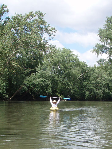 kayak on wooded river