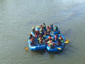 paddlers in rafts